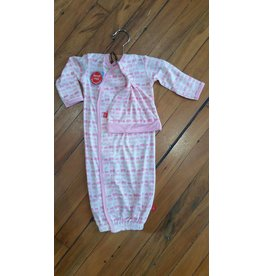 Magnificent Baby Magnetic Gown - Cotton Modal - Soft Pink Elephants