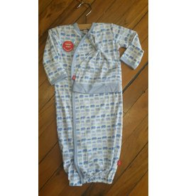 Magnificent Baby Magnetic Gown - Cotton Modal - Soft Blue Elephants
