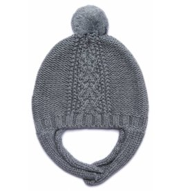 Angel Dear Cable Knit Hat w/Chin Strap - Grey