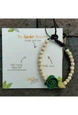 Calamarie Calamarie Orange Peel & Seed Bracelet - Natural/Dark Green Rose