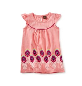 Tea Collection Feather Graphic Baby Dress - Neon Rosa