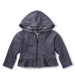 Tea Collection Denim Ruffle Zip Hoodie