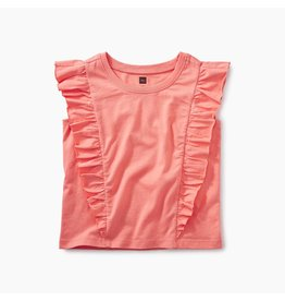 Tea Collection Short Sleeve Ruffle Knit Top - Citrus