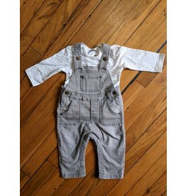 Kanz Soft Grey Denim Overall Set