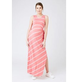 Ripe Maternity Side Tie Maxi Dress - Baked Coral