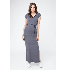 Ripe Maternity Meghan Striped Maxi Dress-Navy/White