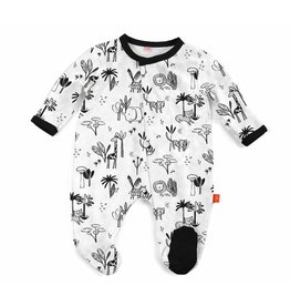 Magnificent Baby Magnetic Footie - Cotton Modal - Animal Safari (Neutral)