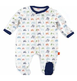 Magnificent Baby Magnetic Footie - Cotton Modal - Bicycles