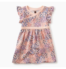 Tea Collection Wrap Neck Baby Dress-Pink Gloss