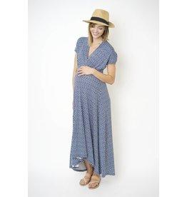 NOM Maternity Caroline During & After Dress - Geo Blue