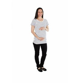 JoJo Maman Bebe Maternity Classic Breton Short-Sleeve Top - Navy Stripe