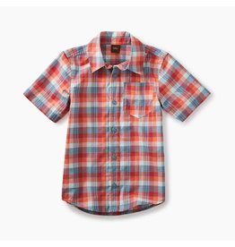 Tea Collection Dressy Plaid Short Sleeve Button-Down