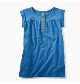 Tea Collection Placket Trim Dress - Atlas Blue