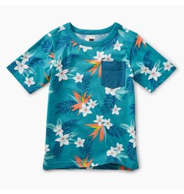 Tea Collection Tropical Florals Pocket Tee - Palm Florals