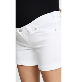 Ingrid & Isabel Maternity Boyfriend Denim Shorts w/Inset Panel - White