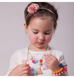 Peppercorn Kids Floral Metallic Pompom Headband - Pink