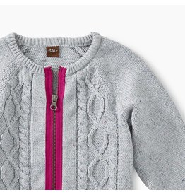 Tea Collection Donegal Cable Zip-Up Cardigan - Heather w/Hot Pink Contrast Zip