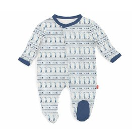 Magnificent Baby Magnetic Modal Footie - Foxy Fair Isle (Blues)