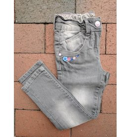Kanz Embroidered Grey 5-Pocket Denim