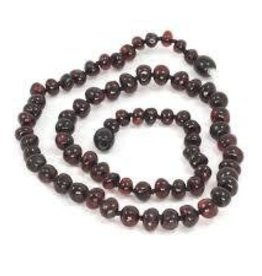 Momma Goose Momma Goose Teething Necklace Baroque dark Cherry m