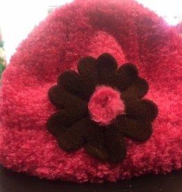 Puffin Gear Puffin Gear hat dk pink/brown flower 6-12 mths