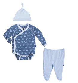 kickee pants Kickee Pants kimono gift set tiny whale 0-3 m