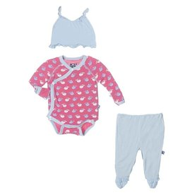 kickee pants Kickee Pants gift set  tiny whale winter rose 3-6 m