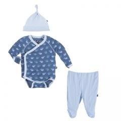 kickee pants Kickee Pants kimono tiny whale 3 -6 m blue