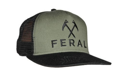 FERAL FERAL Embroidered Trucker Hat - Black/Olive