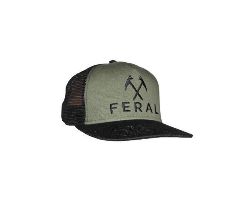 FERAL Embroidered Trucker Hat - Black/Olive