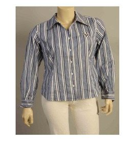 DRESS SHIRT, LADIES, LS, STRIPES, ROYAL/WHITE, UK