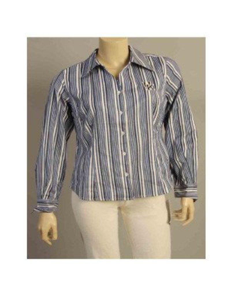 DRESS SHIRT, LADIES, LS, STRIPES, ROYAL/WHITE, UK