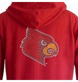 E5 College Classics HOODY, LADIES, FULL-ZIP, RHINESTONE, RED, UL