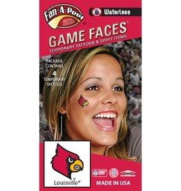 Fan A Peel FACE TATTOOS, CARDINAL, 4 PACK, UL