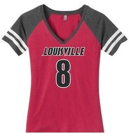 TEE, LADIES, SS, FOOTBALL, V-NECK, UL