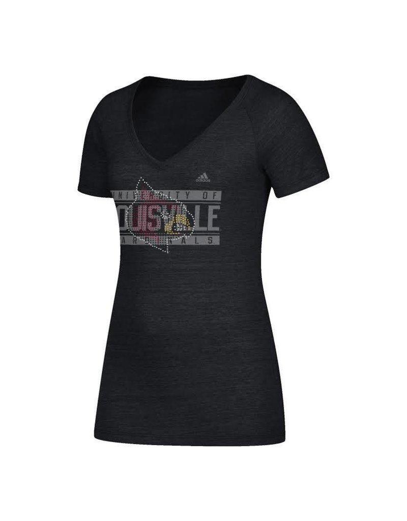 Adidas Sports Licensed TEE, LADIES, ADIDAS, RHINESTONE, BLACK, UL
