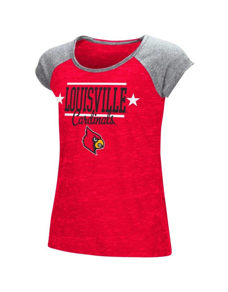 Colosseum Athletics TEE, YOUTH, SS, GIRLS, SPRINTS, RED/GRAY, UL