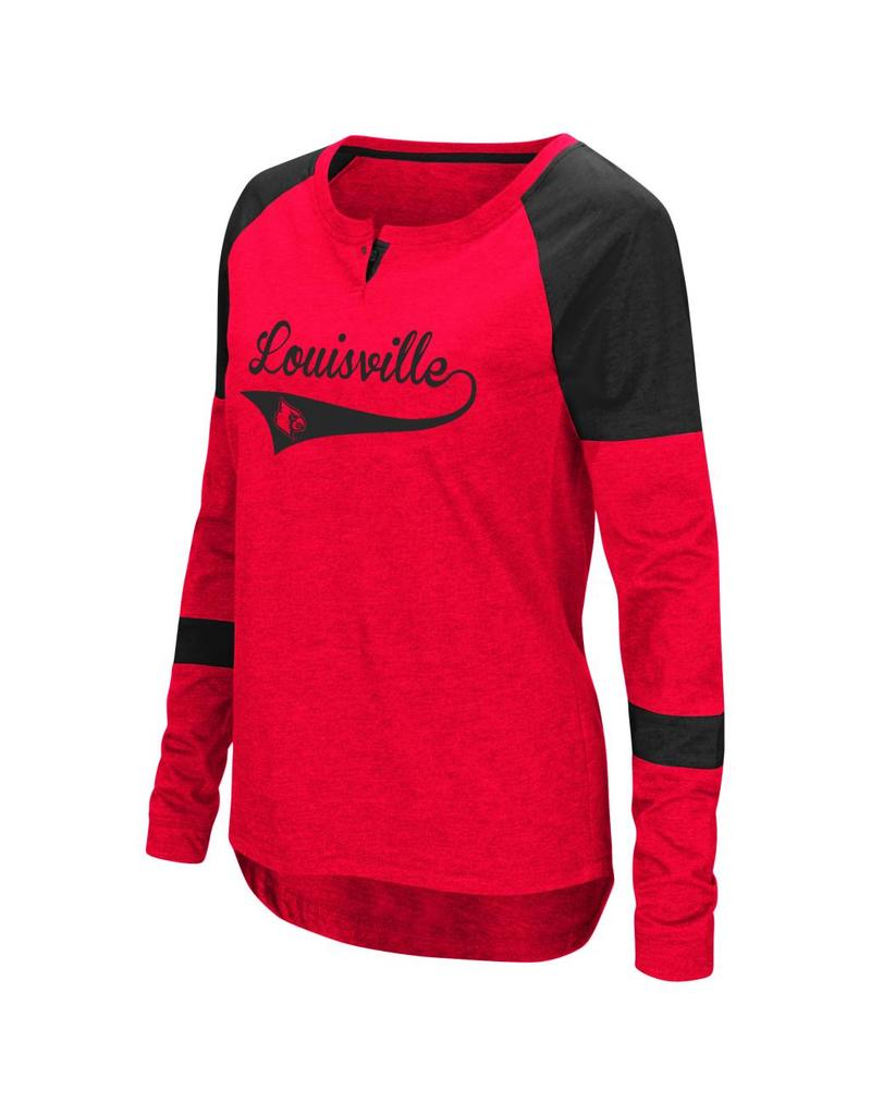 Colosseum Athletics TEE, LADIES, LS, ROUTINE, RED/BLACK, UL
