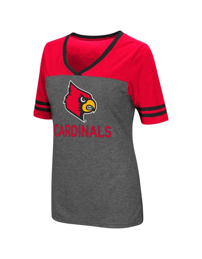 Colosseum Athletics TEE, LADIES, SS, MCTWIST, CHARCOAL/RED, UL
