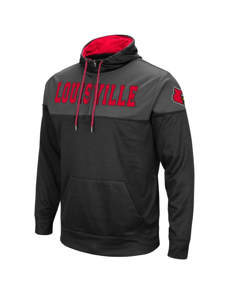 Colosseum Athletics HOODY, 1/4 ZIP, TIPSTER, RED/CHARCOAL, UL