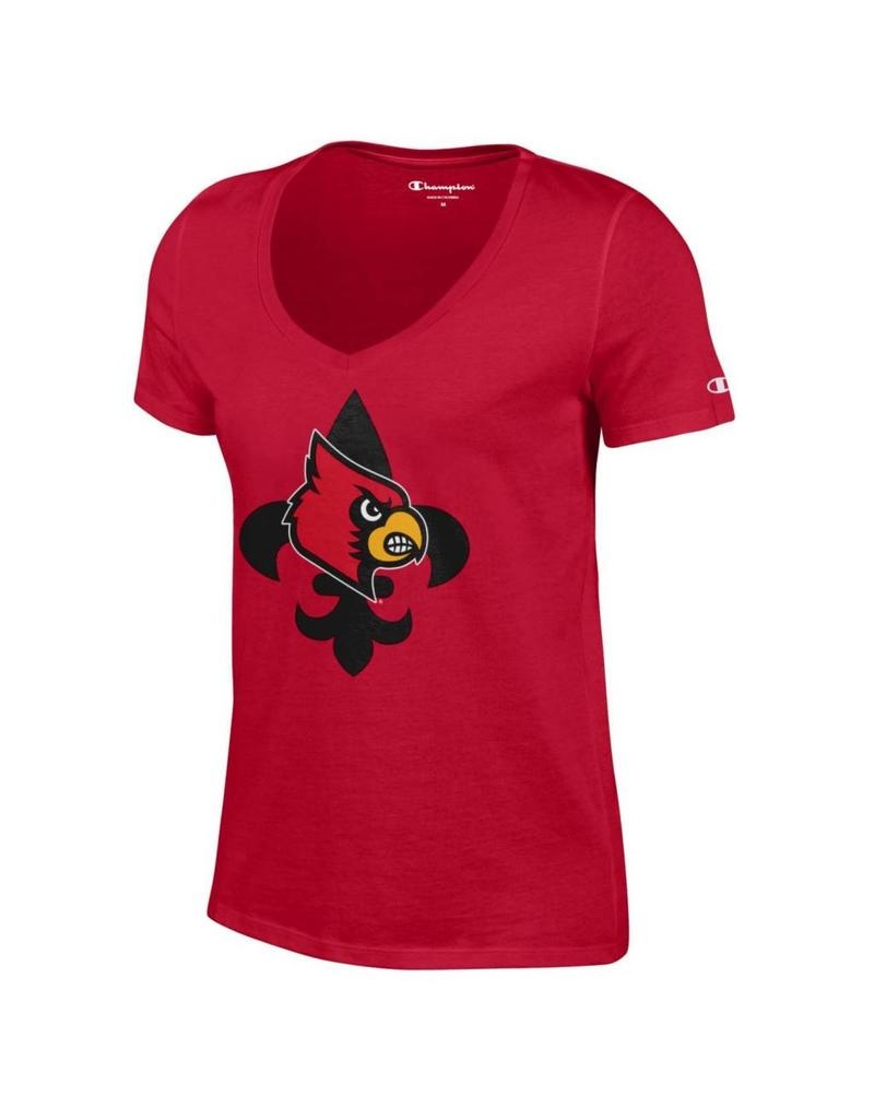 Champion Products TEE, LADIES, SS, V-NECK, FDL GLITTER, RED, UL