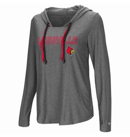 Colosseum Athletics TEE, LADIES, LS, HOOD, PODIUM, CHARCOAL, UL