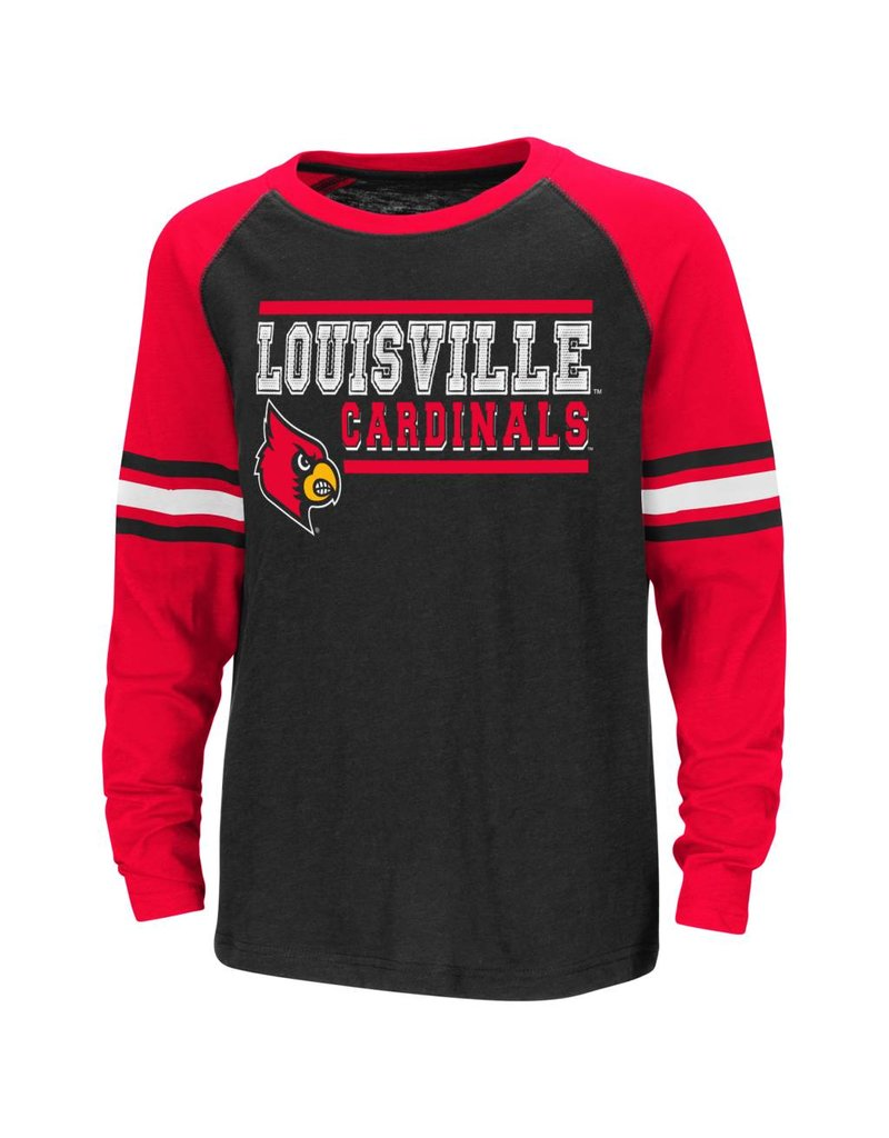 Colosseum Athletics TEE, YOUTH, LS, RAGLAN, BLK/RED, UL