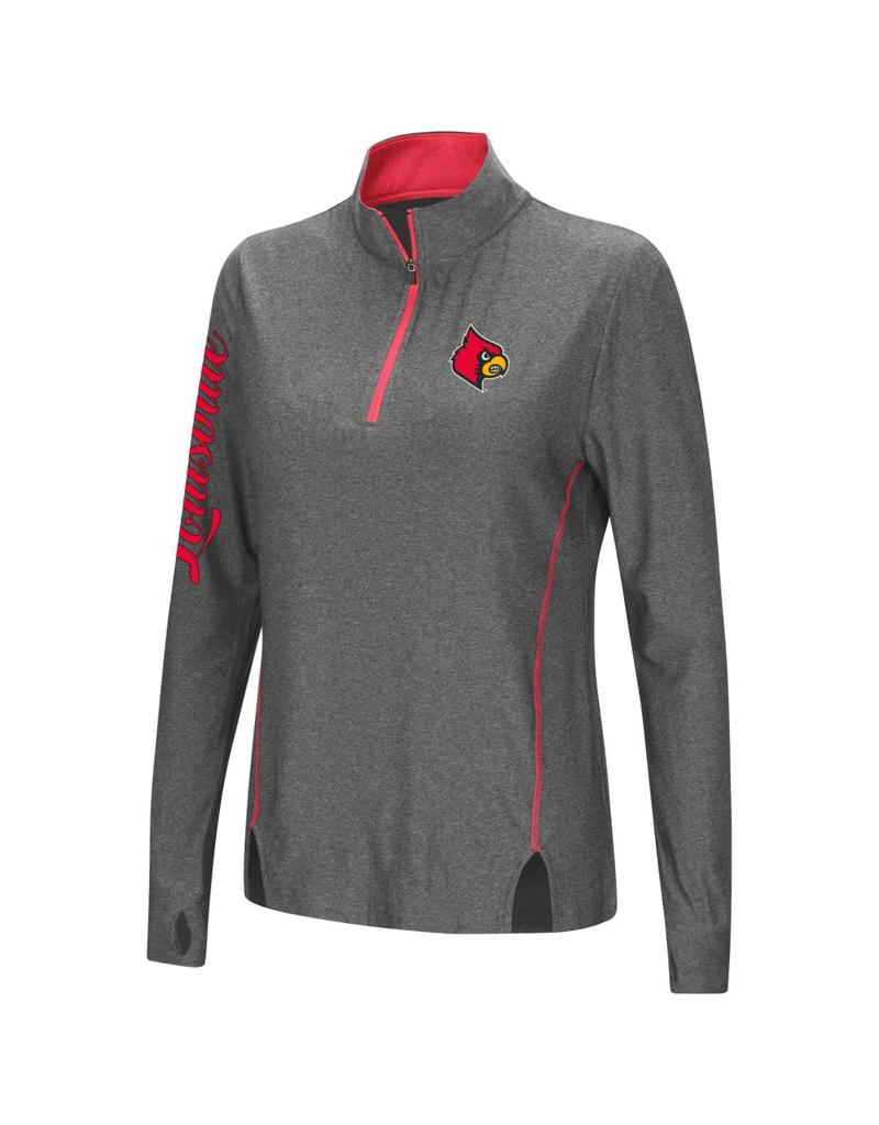 Colosseum Athletics PULLOVER, LADIES, 1/4 ZIP, VIZZINI, CHAR/RED, UL