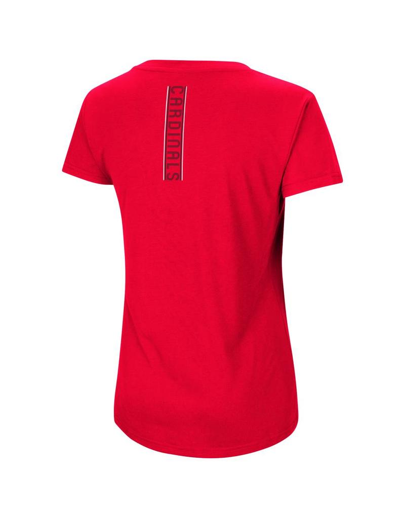 Colosseum Athletics TEE, LADIES, SS, V-NECK, HOW GOOD, RED, UL