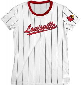 Step Ahead Sportswear TEE, LADIES, SS, STRIPED BASEBALL, WHITE, UL