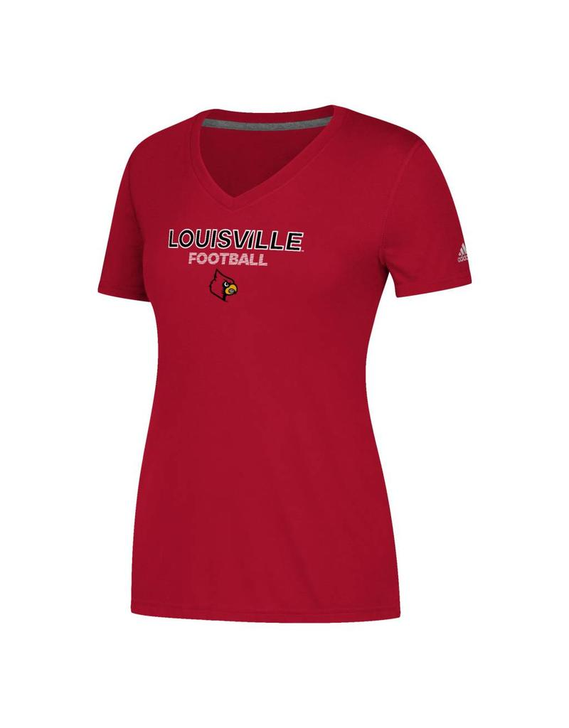 Adidas Sports Licensed TEE, LADIES, SS, ADIDAS, SIDELINE FOOTBALL, RED, UL