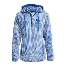 HOODY, LADIES, 1/4 ZIP SHERPA, ROYAL, UK