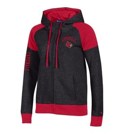 Champion Products HOODY, LADIES, FZ, BLACK W SCARLET CUFFS, UL
