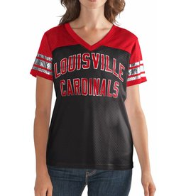 TEE, LADIES, SS, MESH, FAN CLUB, BLK/RED, UL